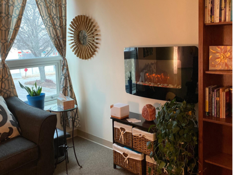 Cozy up to the fireplace while you meet with one of our therapists.